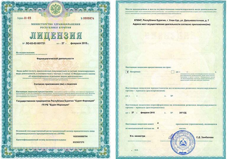 Образец лицензии